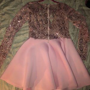 Dresses - Pink half sequins material dress